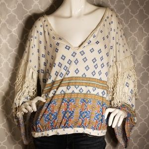 Free People fringe tassel blouse